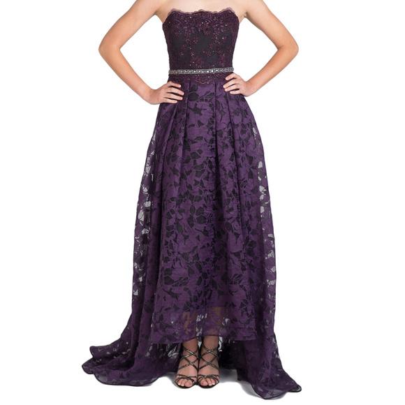 Badgley Mischka Dresses Badgley Mishka Lace Highlow Ball Gown